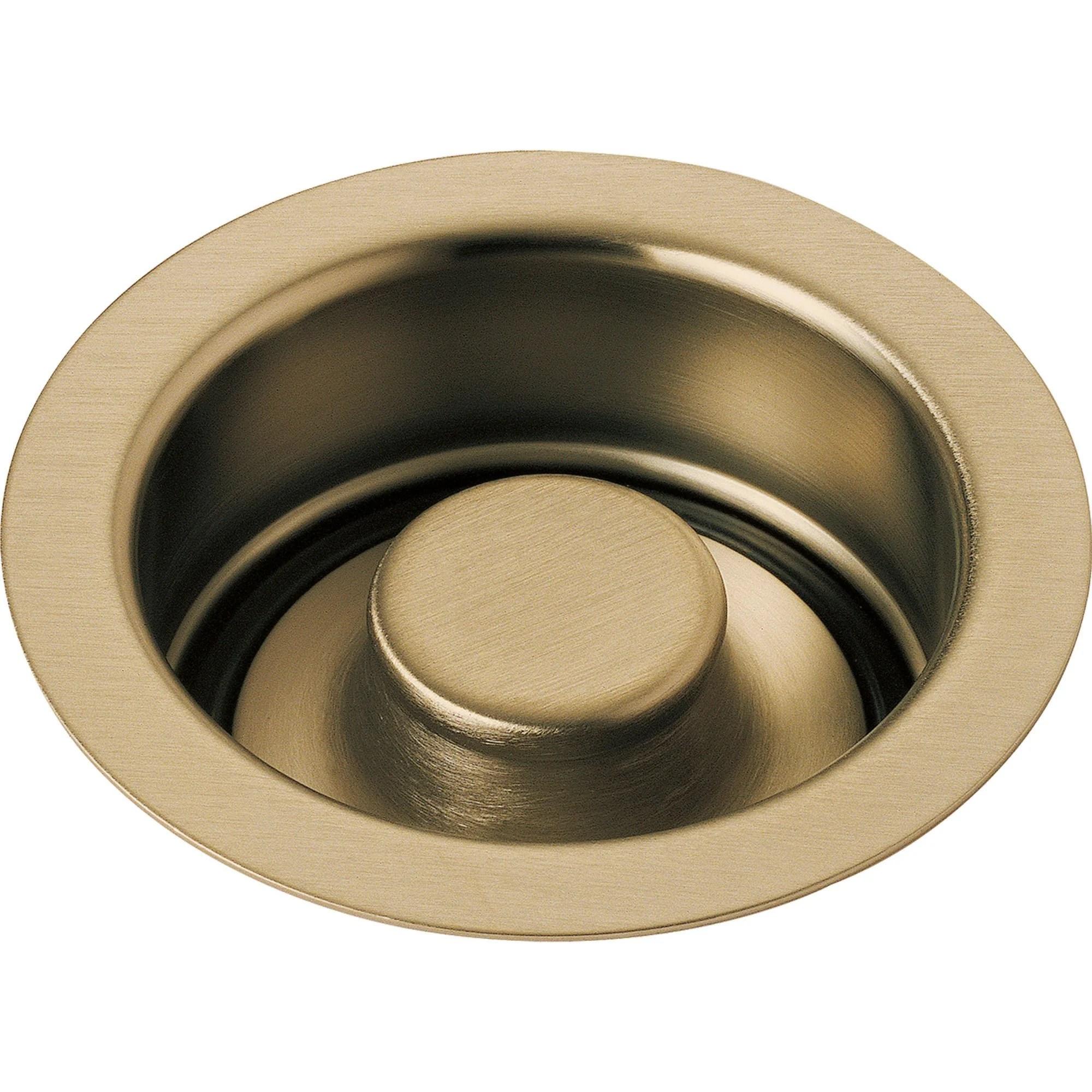 delta 4 1 2 champagne bronze kitchen sink disposal flange and stopper 638411