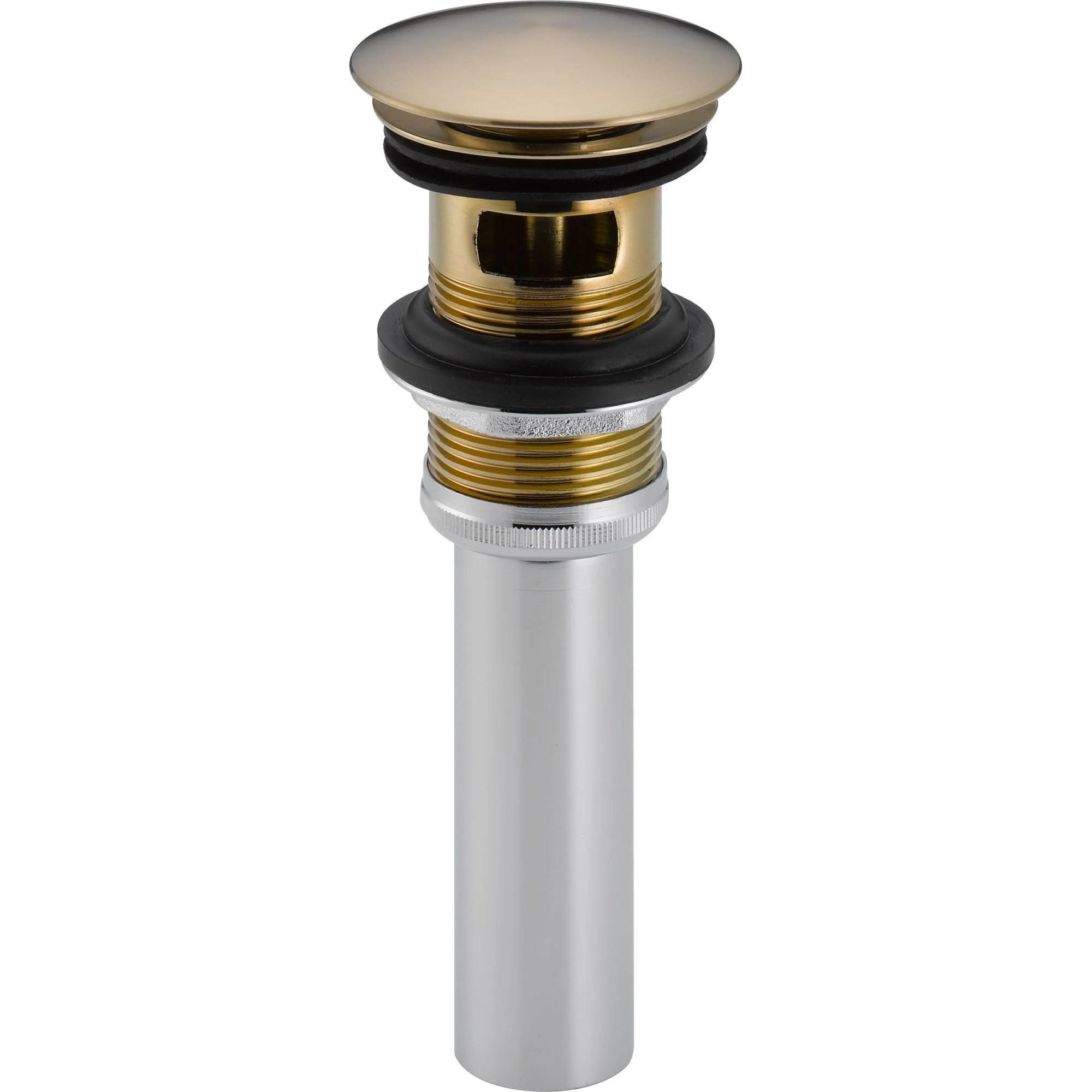delta champagne bronze push pop up bathroom sink drain with overflow 525028