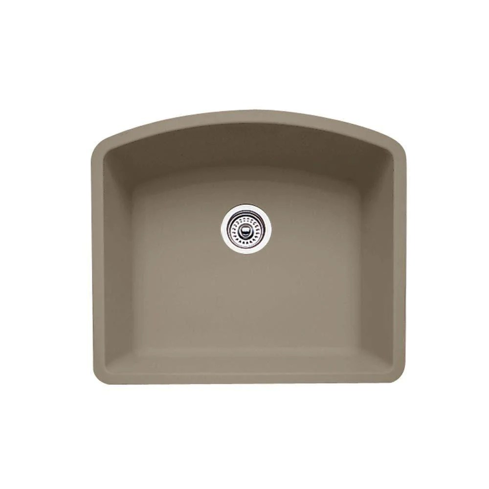 blanco diamond undermount granite 24 inch 0 hole single bowl kitchen sink in truffle 537972