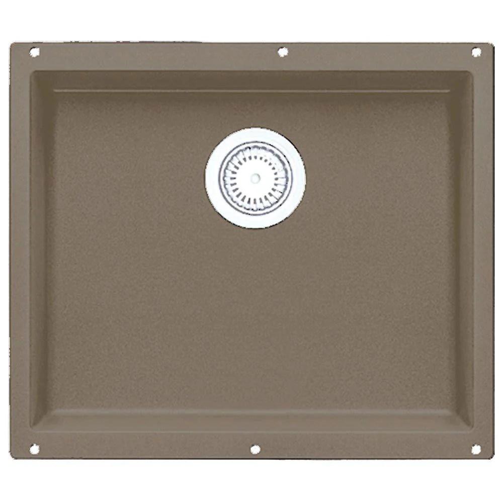 blanco precis undermount granite 20 inch 0 hole single bowl kitchen sink in truffle 538027