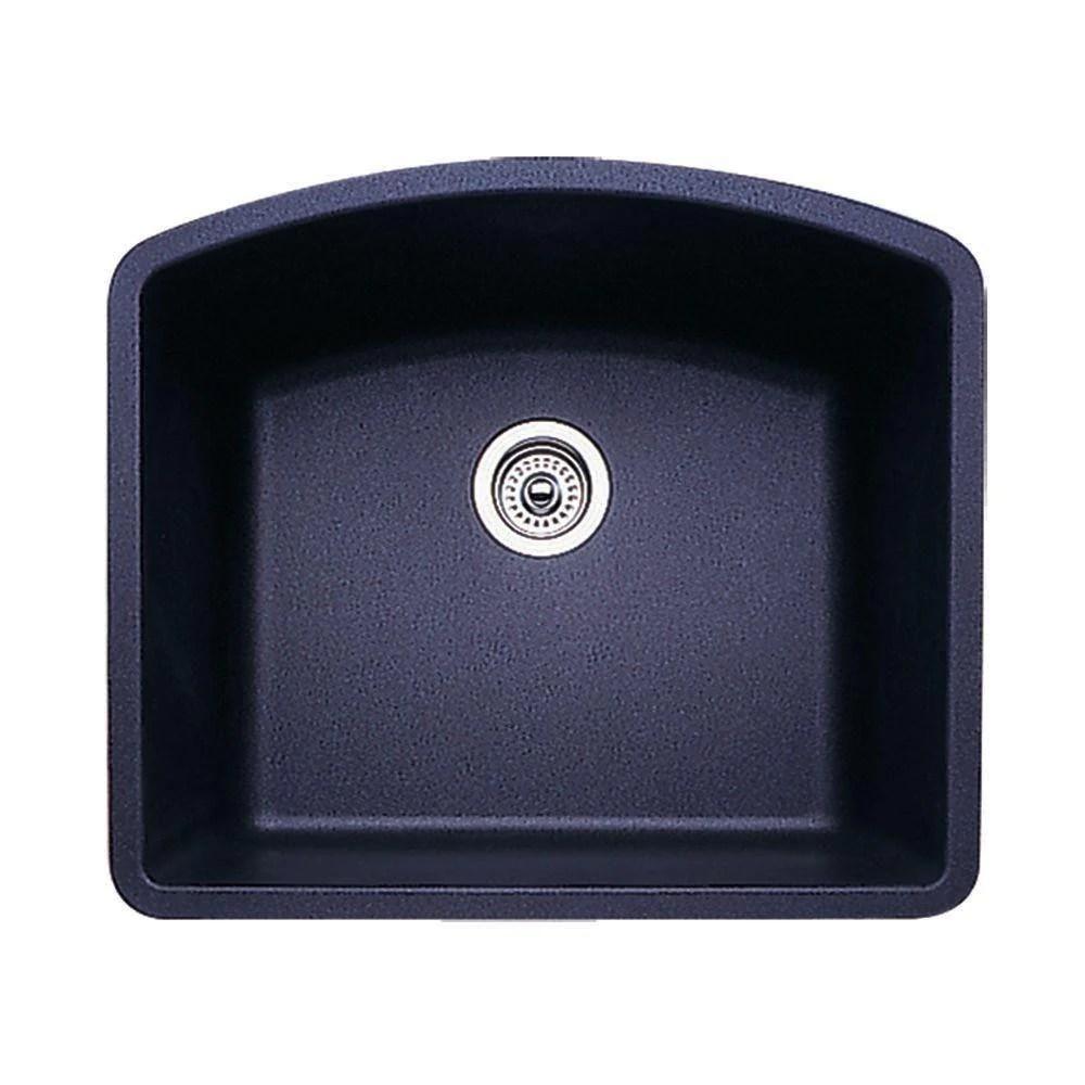 blanco diamond undermount granite 24 inch 0 hole single bowl kitchen sink in anthracite 715721