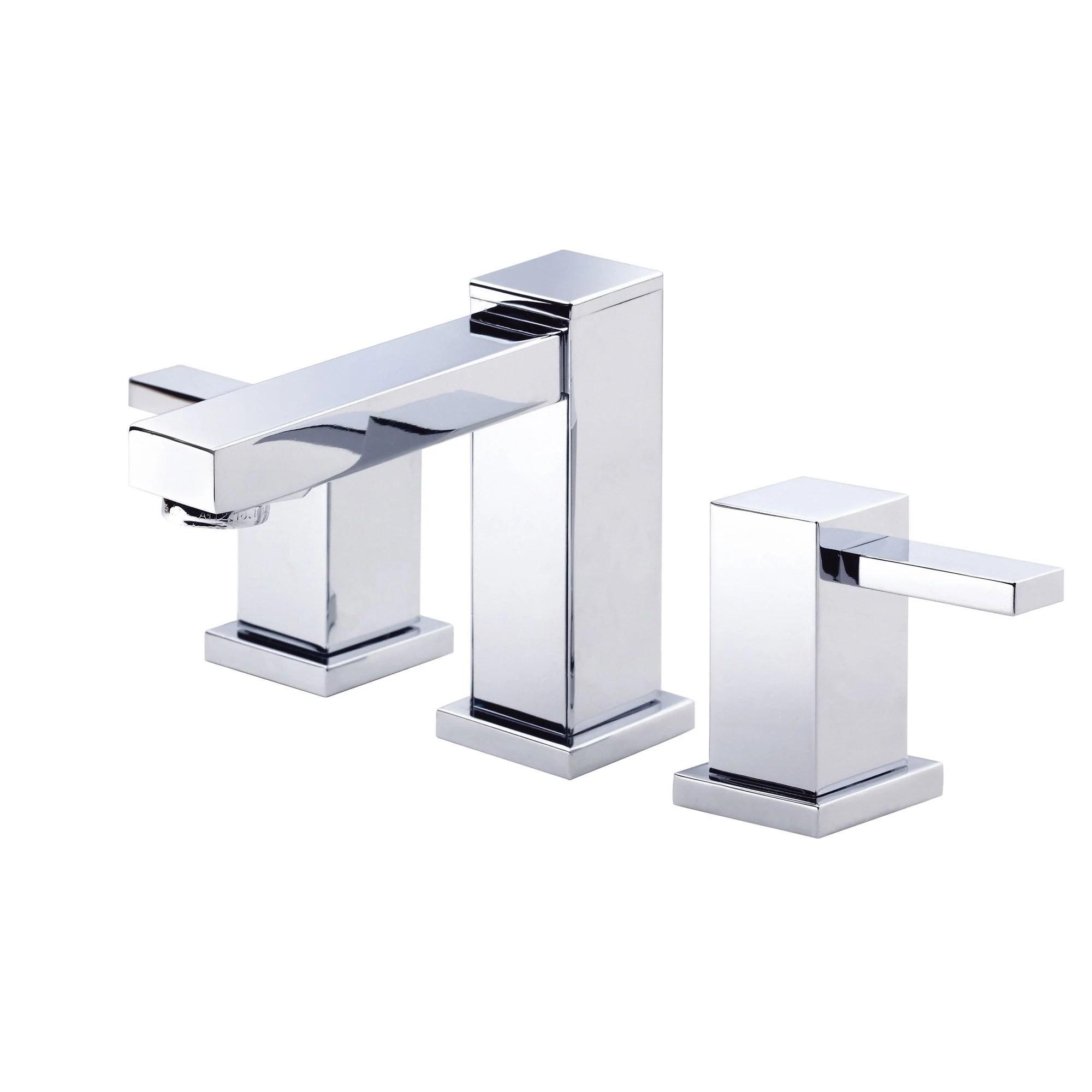 danze reef chrome modern square 2 handle widespread bathroom sink faucet