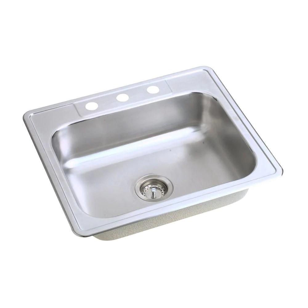 elkay dayton top mount stainless steel 25x21 25x7 0625 3 hole single bowl kitchen sink 849097