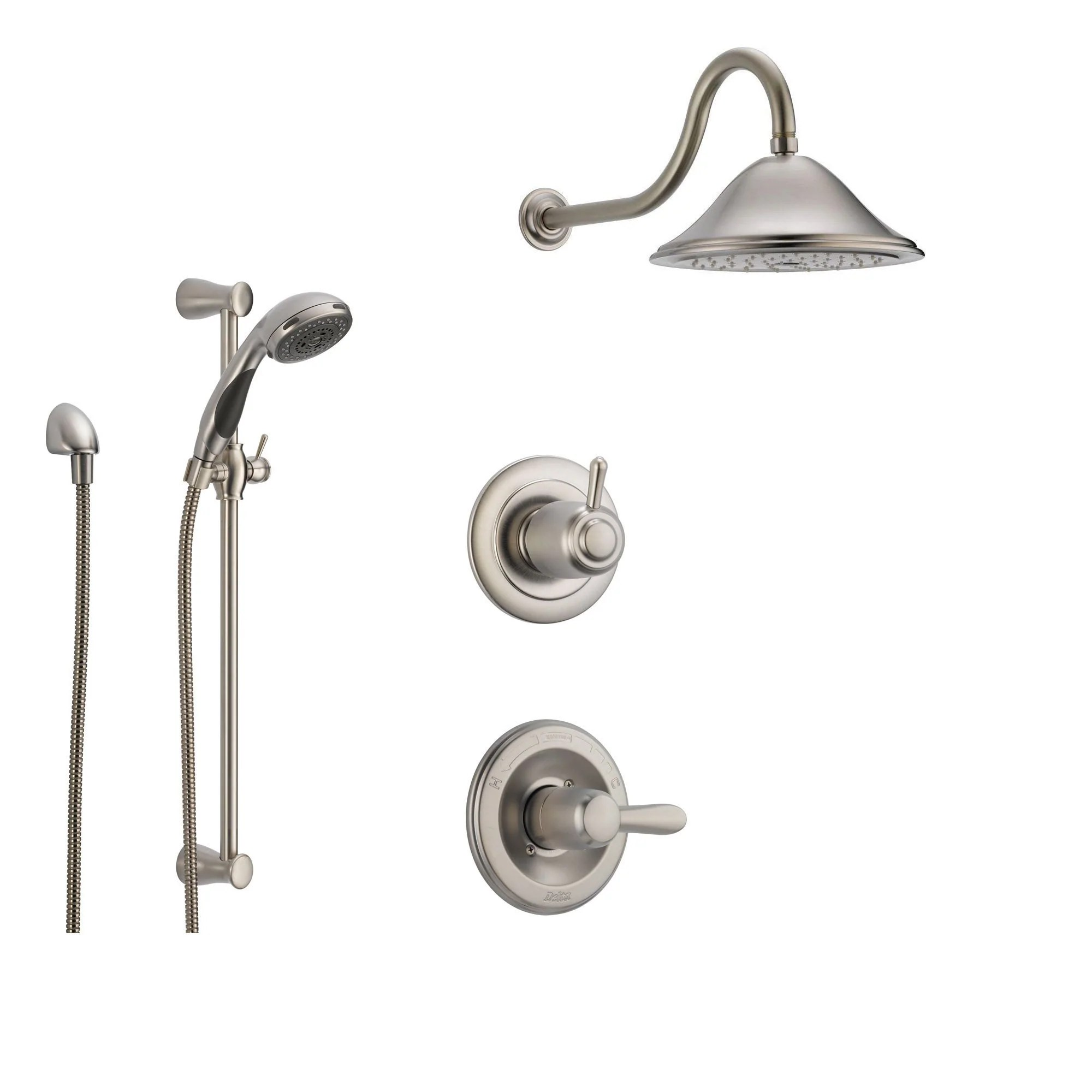 Delta Lahara Stainless Steel Shower System With Normal Shower Handle 3 Setting Diverter Large Rain Showerhead And Handheld Shower Ss143881ss