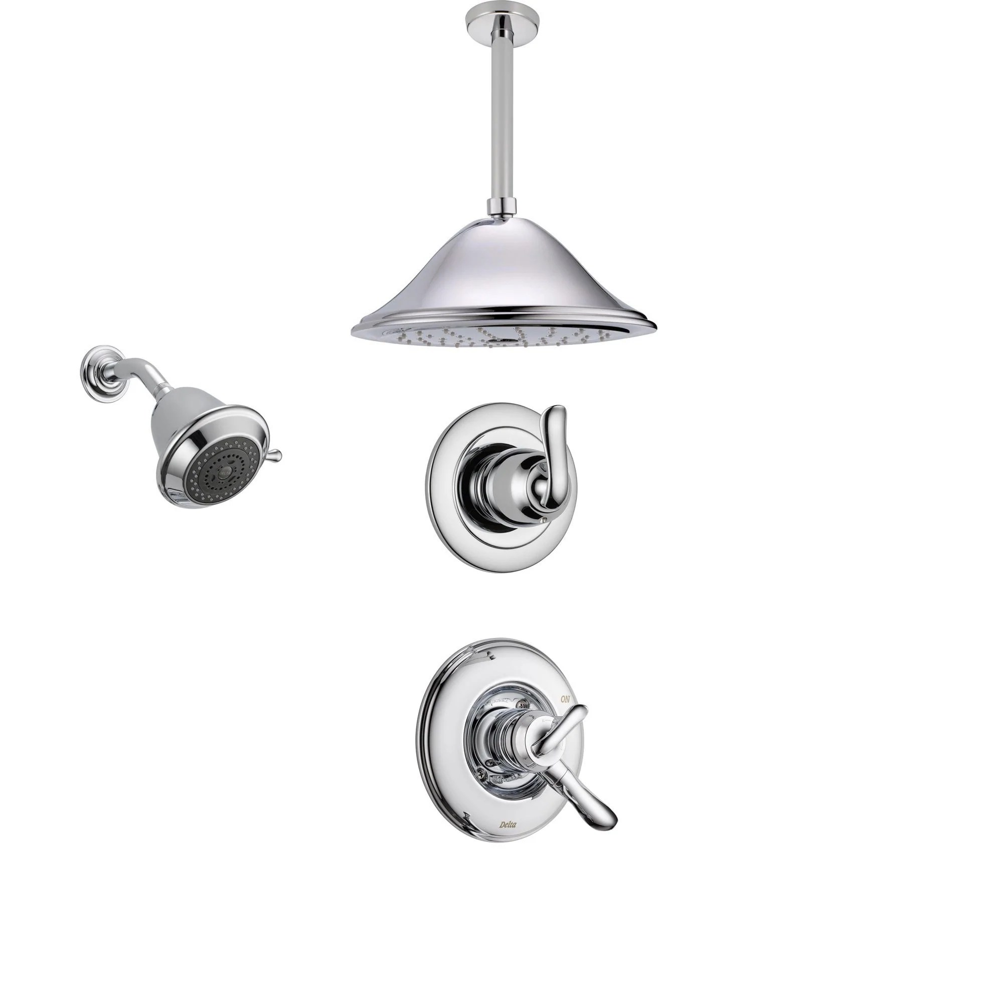 Delta Linden Chrome Shower System With Dual Control Shower Handle 3 Setting Diverter Large Ceiling Mount Rain Shower Head And Wall Mount Showerhead
