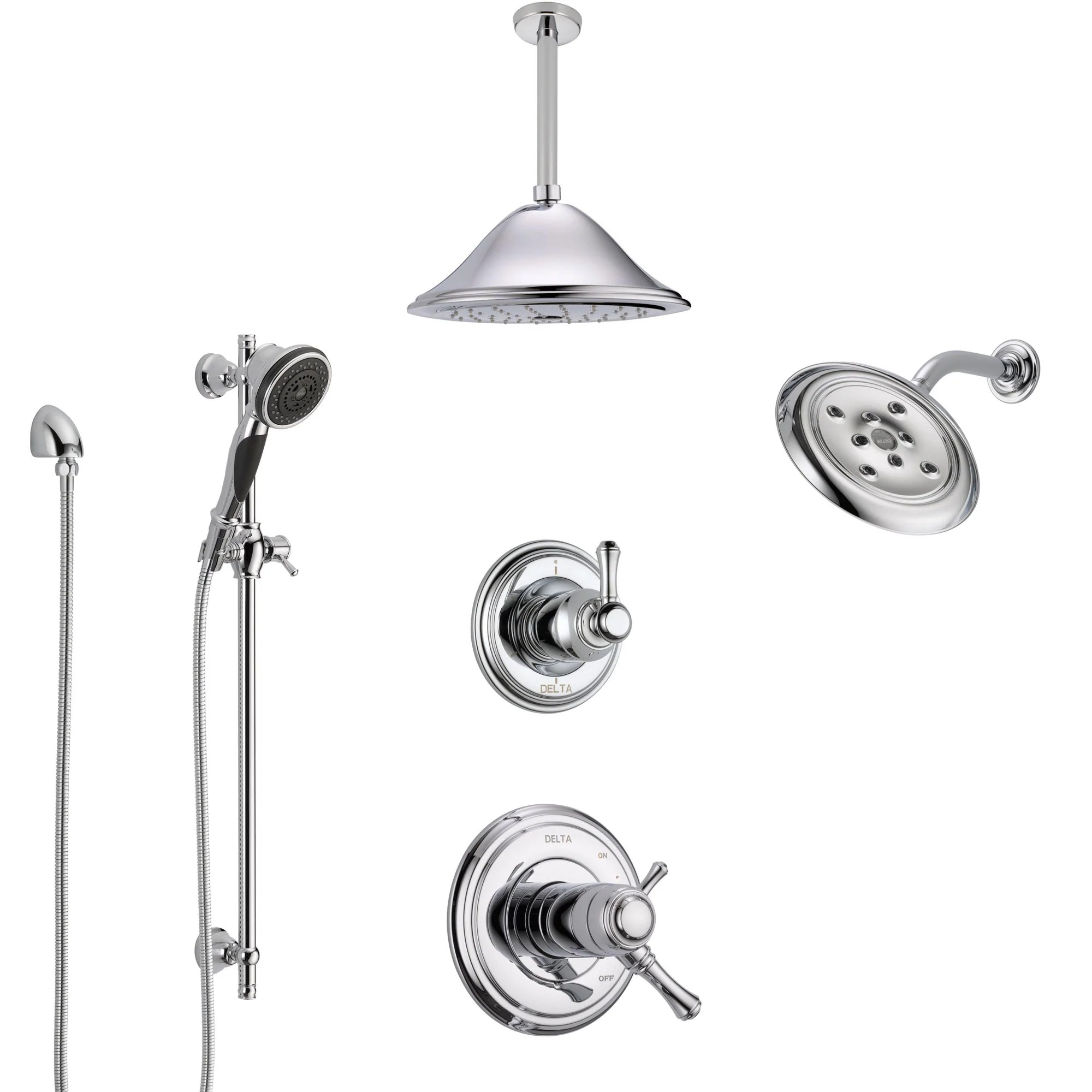 Delta Cassidy Chrome Shower System With Dual Thermostatic Control 6 Setting Diverter Showerhead Ceiling Mount Showerhead And Hand Shower Ss17t9716