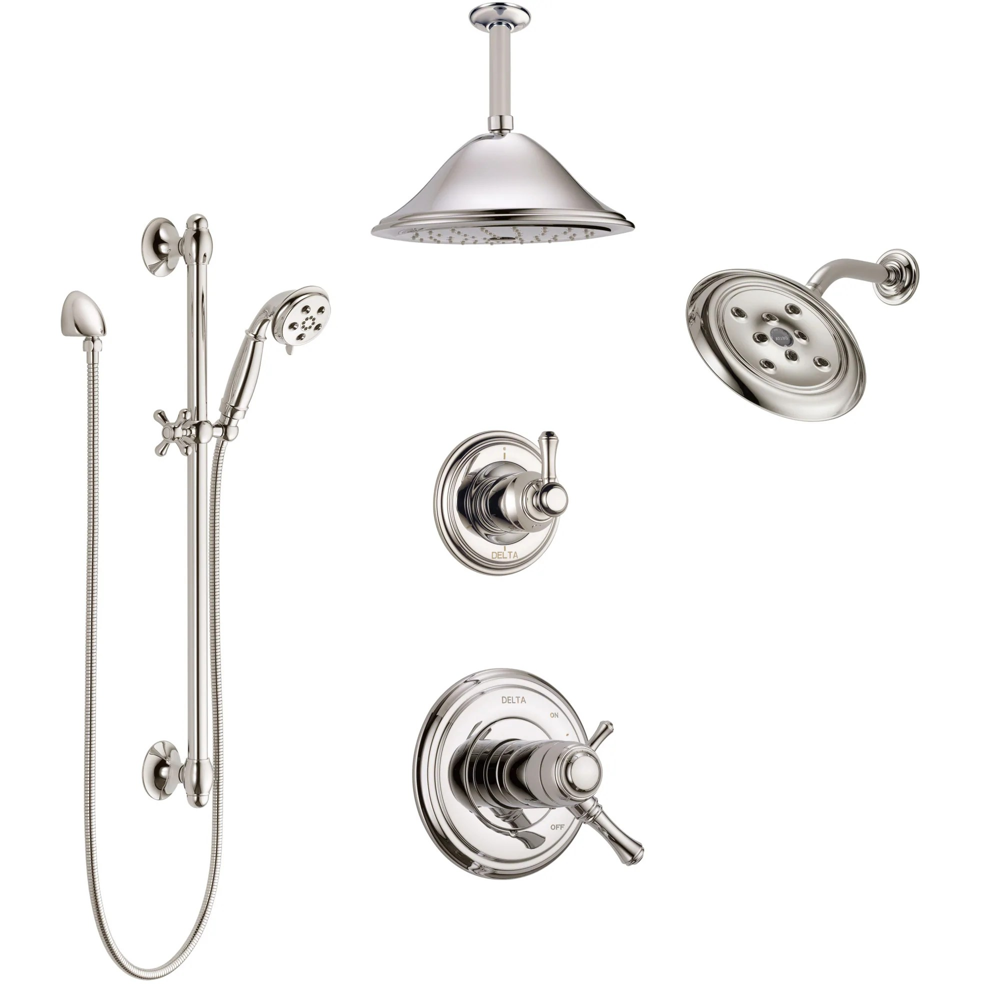 Delta Cassidy Polished Nickel Shower System With Dual Thermostatic Control Diverter Showerhead Ceiling Showerhead And Hand Shower Ss17t971pn6