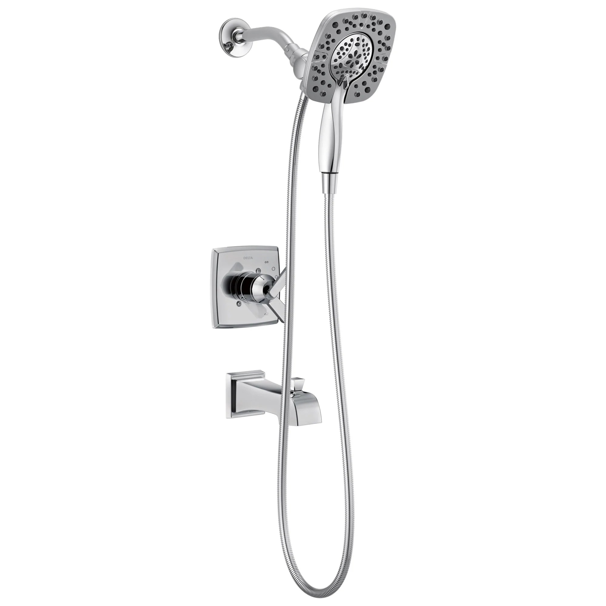 delta ashlyn chrome finish monitor 17 series tub and shower combo faucet with in2ition two in one hand shower spray includes rough in valve d1122v