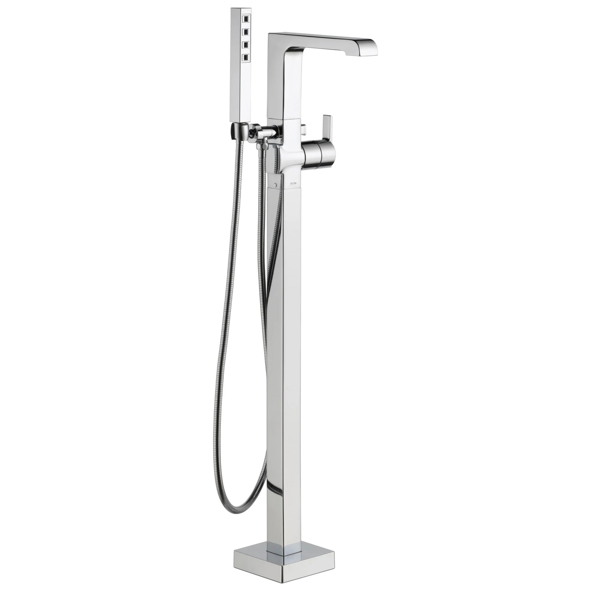 delta ara collection chrome floor mount freestanding contemporary tub filler faucet with hand shower includes trim kit and rough in valve d2073v