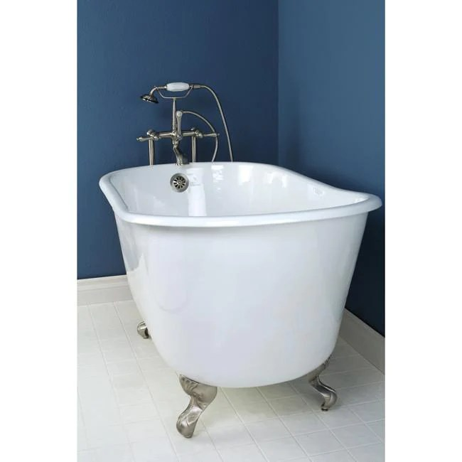 53 Small Cast Iron White Slipper Clawfoot Bathtub With Satin Nickel F