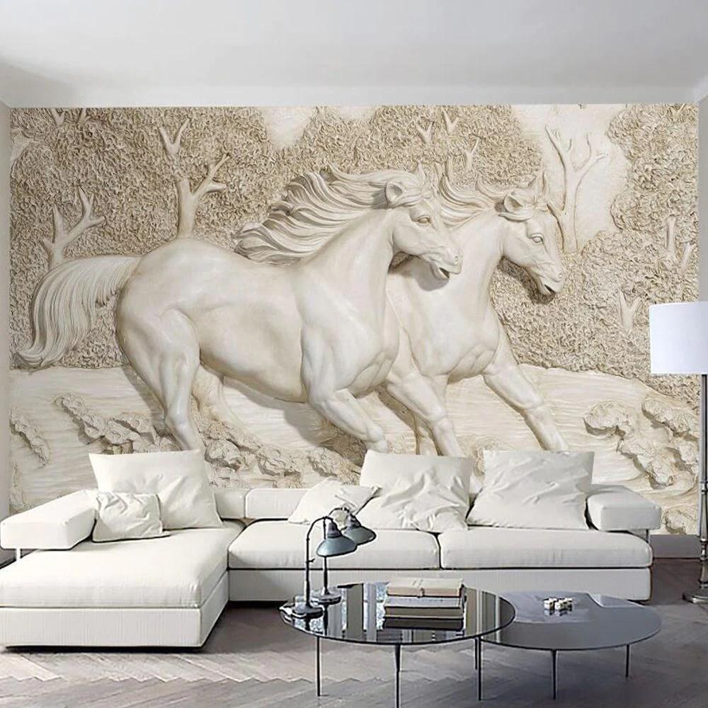 Poster Mural Imprime Hd Sculpture Chevaux Trompe L Oeil 3d Chevaux Passion