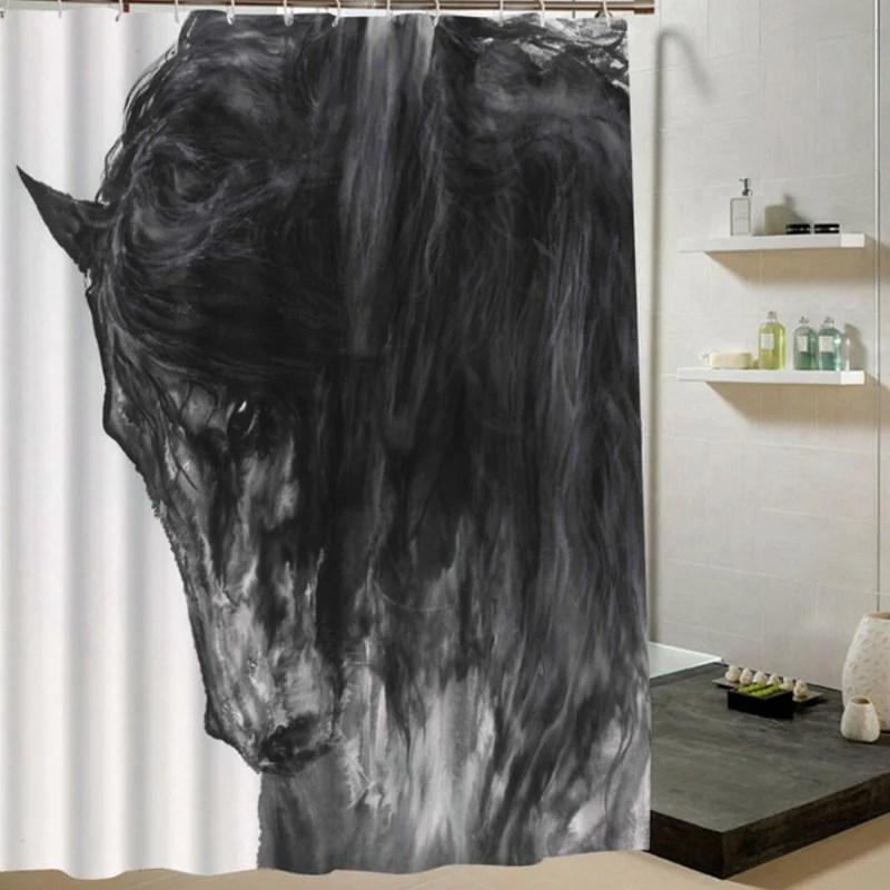 rideaux de douche imprimes hd tete de cheval noir en peinture d art
