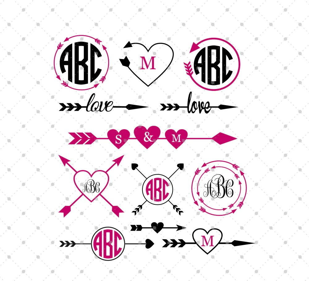 Download SVG Cut Files for Cricut and Silhouette - Arrow Monogram ...