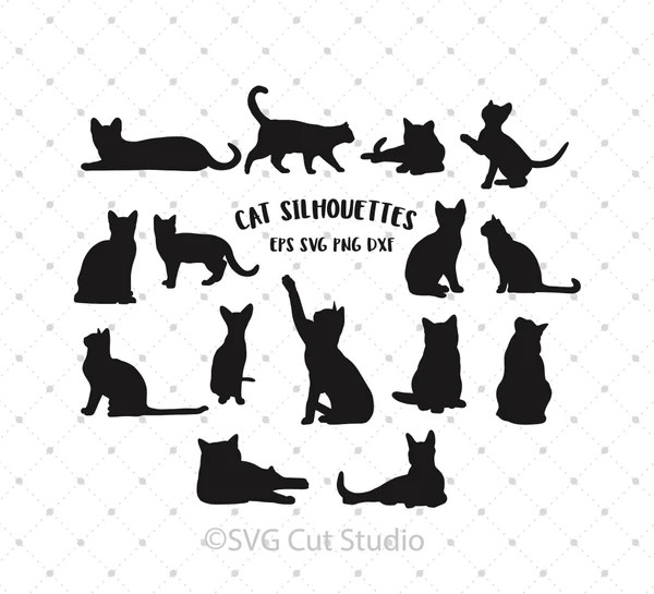 Download SVG Cut Files for Cricut and Silhouette - Cat Silhouettes ...