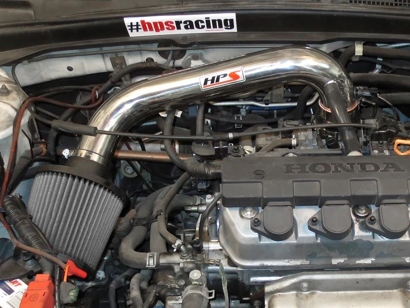 hps performance polish shortram air intake for 2001 2005 honda civic dx ex lx vi 1 7l