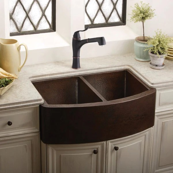 Hammered Copper Farmhouse Sink 33 Double Bowl Elkay ECUF3319ACH Showroom Sinks