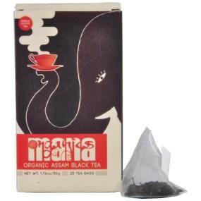 Mana Organics Organic Black Tea Bags Box with pyramid tea bag