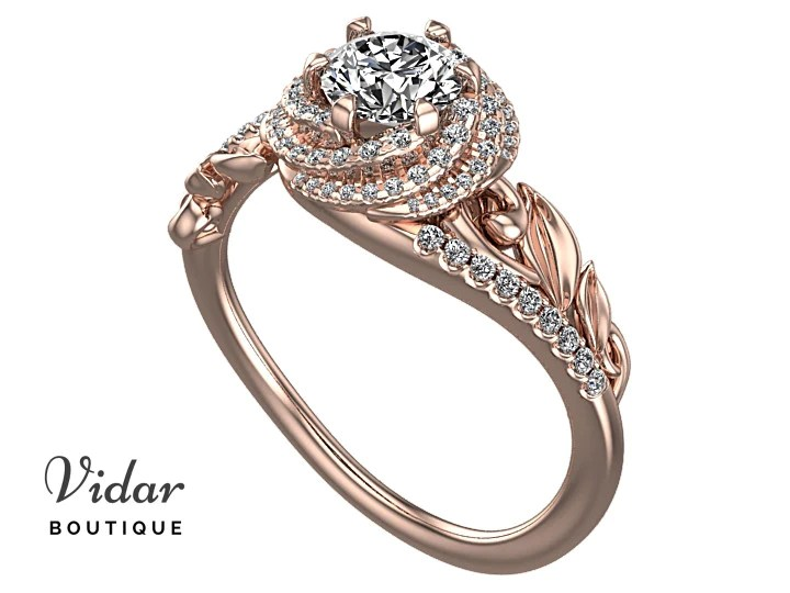 Unique Floral Diamond Engagement RingVidar Boutique