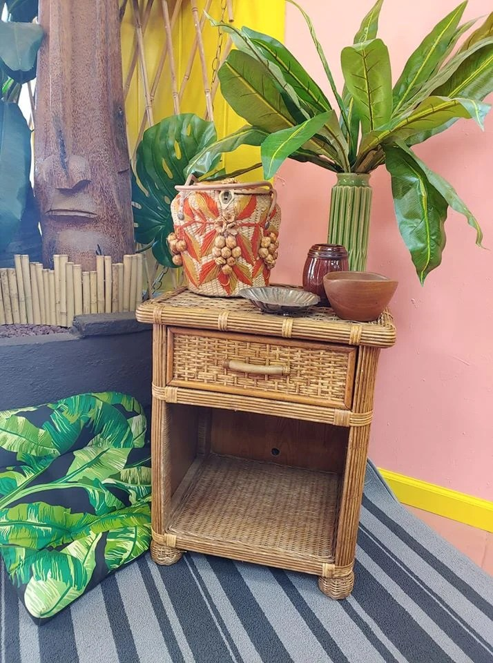rattan wicker boho style nightstand