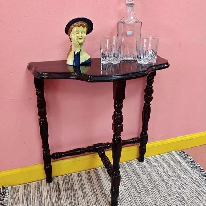 tiny vintage wooden entry way side table