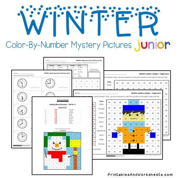jigglist addition worksheets addition worksheets winter color by number winter - Color Number Winter Worksheets