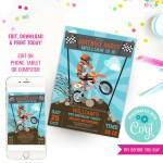 Dirt Bike Party Invitation Motocross Birthday Invite Sunshine Parties