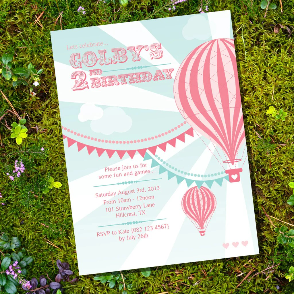 hot air balloon birthday party invitation for a girl sunshine parties