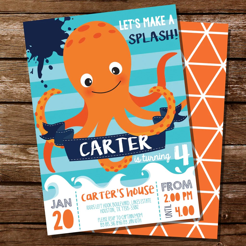 octopus party invitation under the sea party invitation sea creatu sunshine parties