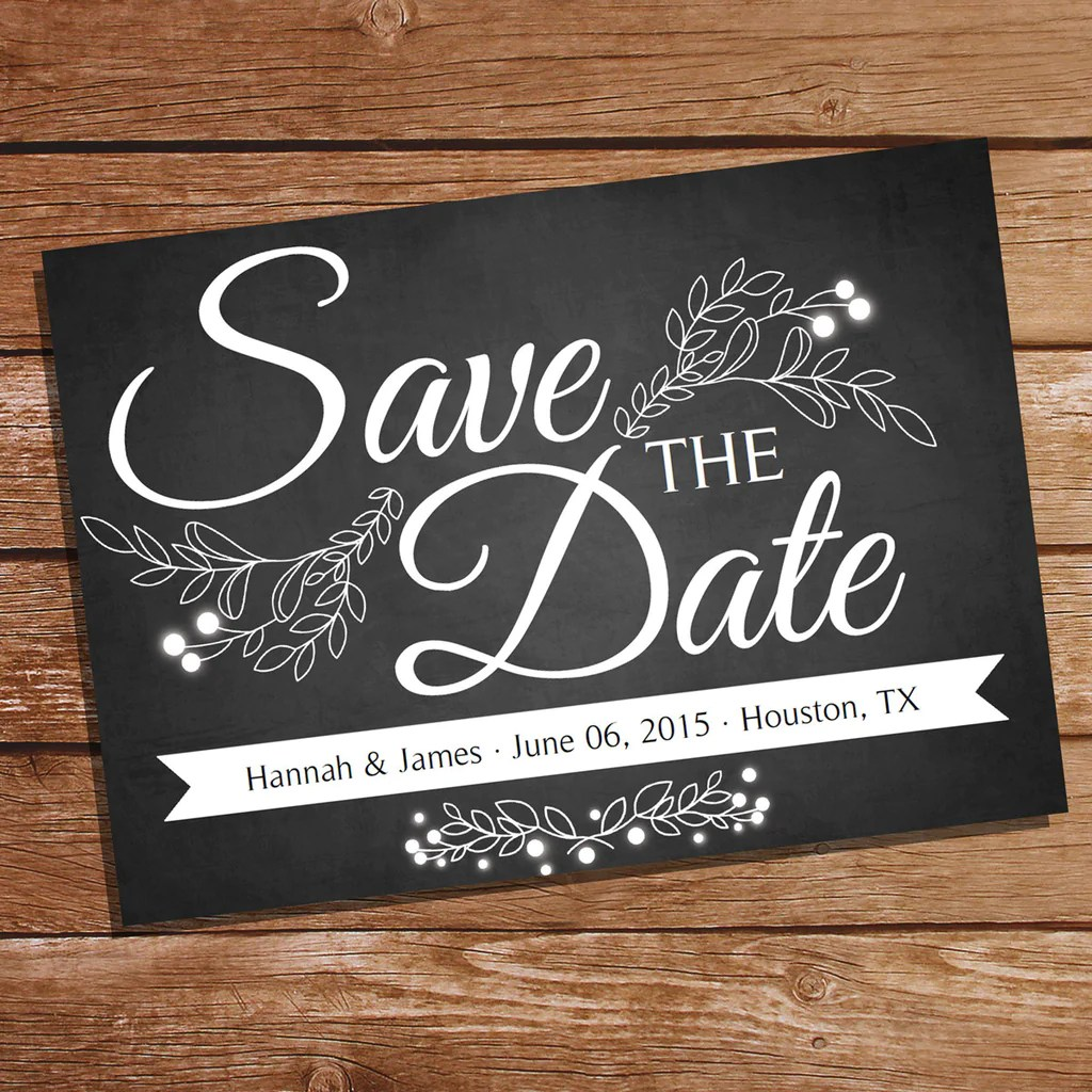 Chalkboard Save The Date Card Save The Date Wedding Stationery Sunshine Parties