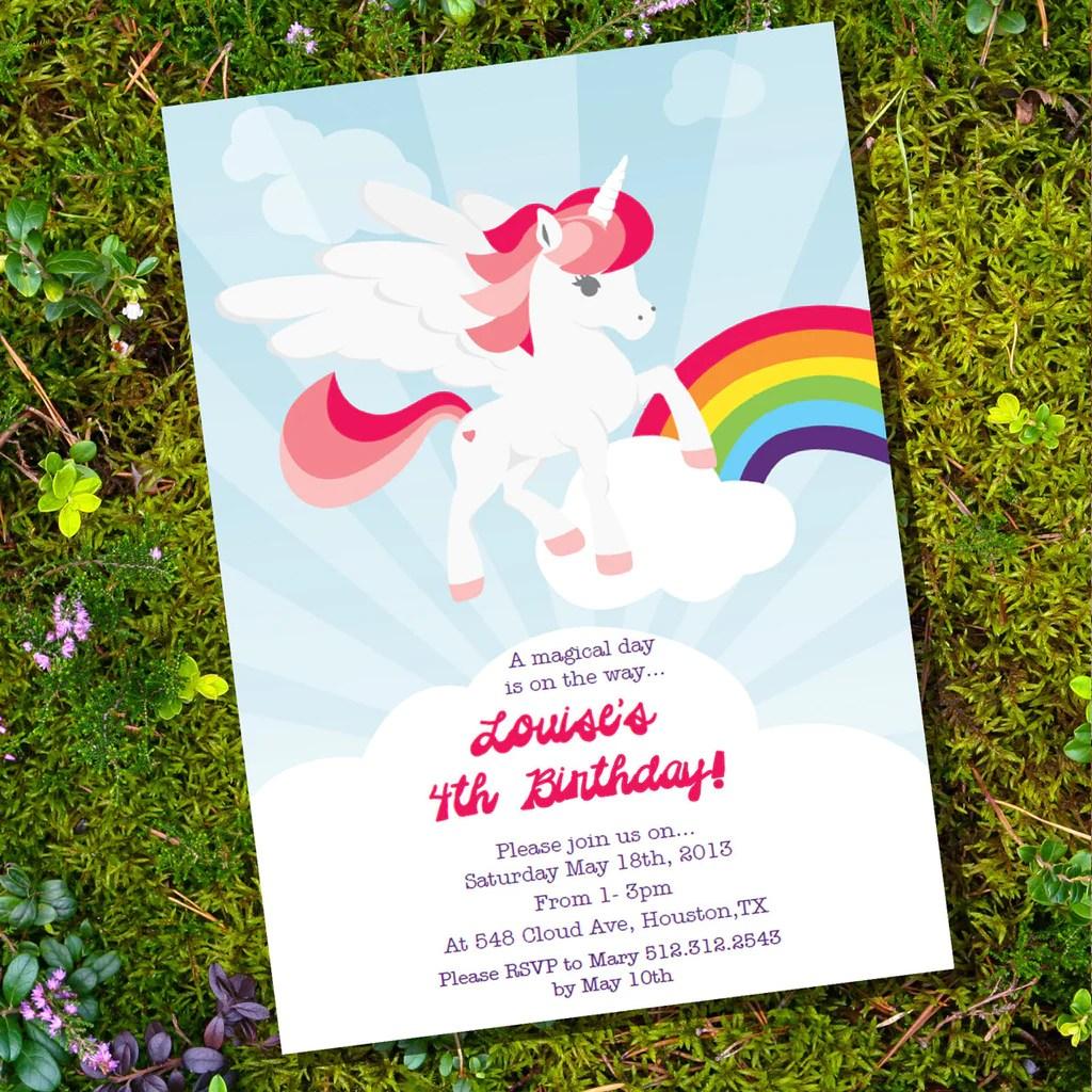 Unicorn Birthday Party Invitation Rainbow Unicorn Invite Template