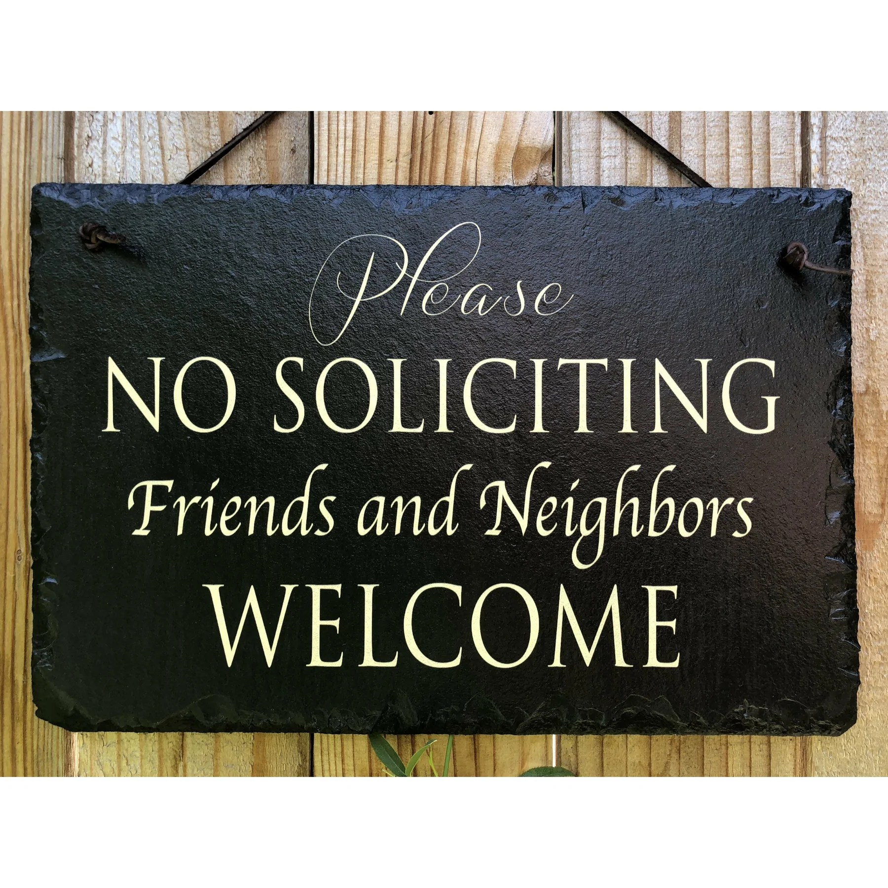 Handmade And Customizable Slate House Sign No Soliciting Sign