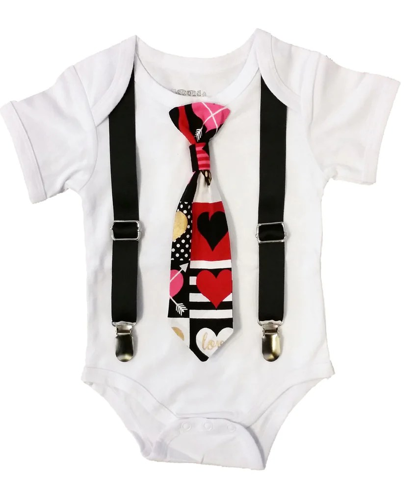 Baby Boy Valentines Day Outfit Heart Print Tie And