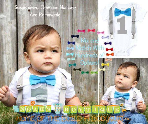 1st Birthday Outfit Boy Grey And Blue Elephant Party Outfit Theme Noah S Boytique