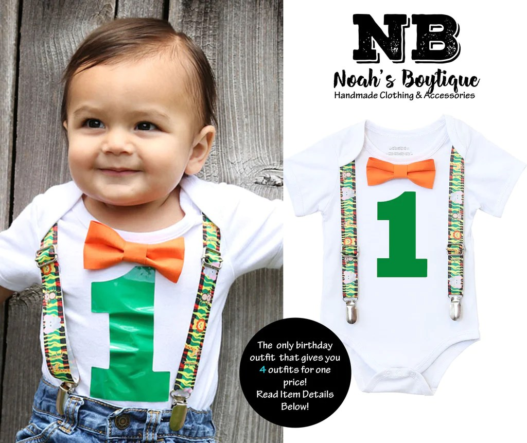 Jungle First Birthday Party Outfit Suspenders And Bow Tie Lion Monkey Noah S Boytique