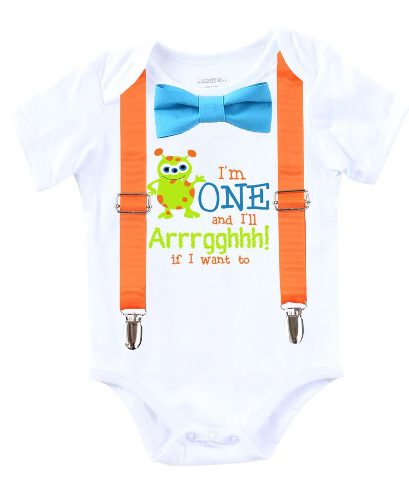 Little Monster First Birthday Shirt Outfit Boy Suspenders Bow Tie Noah S Boytique