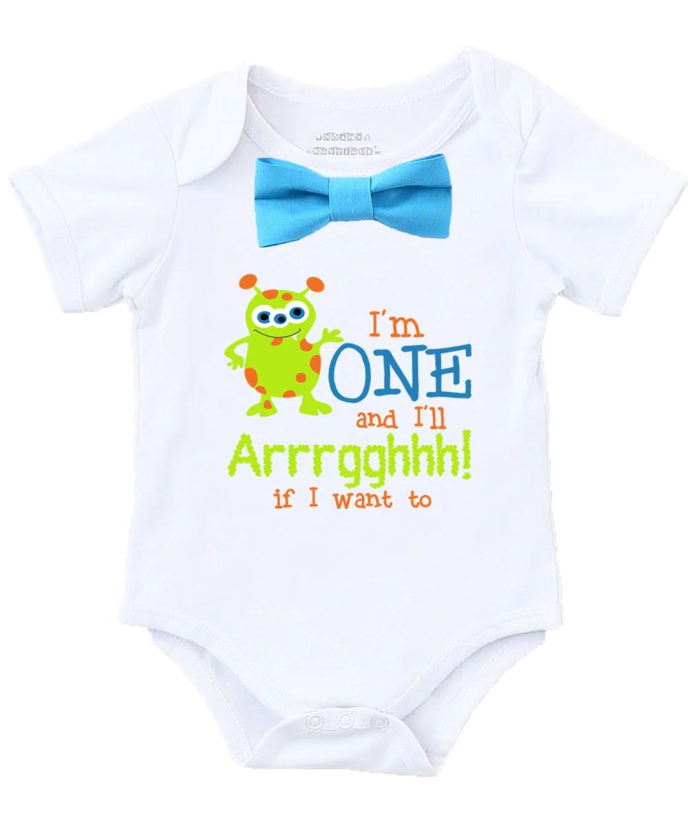 Little Monster First Birthday Shirt Outfit Boy Blue Bow Tie Cute Sayin Noah S Boytique