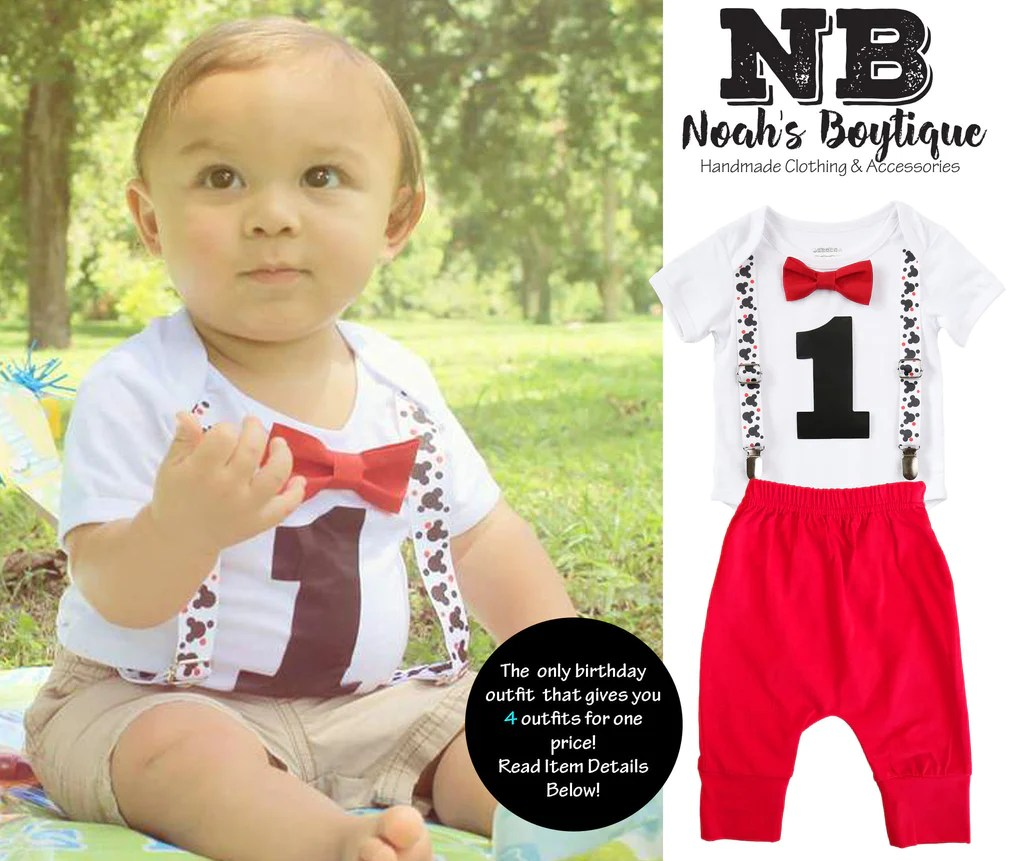 Mickey Mouse First Birthday Party Outfit Boy With Red Pants Noah S Boytique