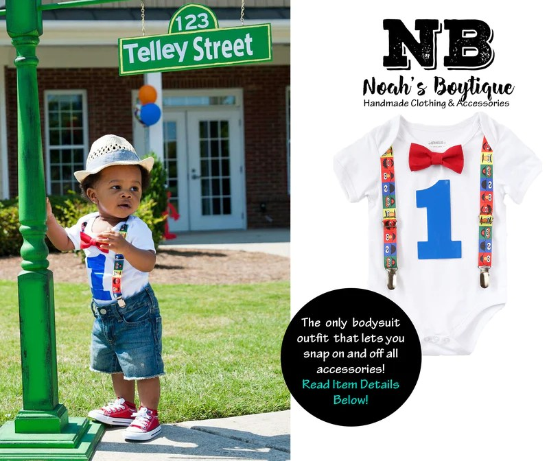 Sesame Street First Birthday Outfit Baby Boy Elmo Cookie Monster Noah S Boytique