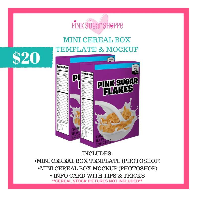 Download PINK SUGAR SHOPPE MINI CEREAL BOX TEMPLATE & MOCKUP - Pink ...