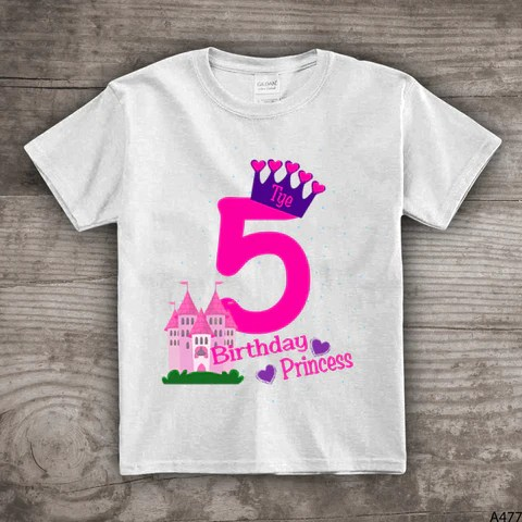 5th Birthday Princess Shirt Crown T Shirt Girls Castle Fifth Bday Pers Stoykots