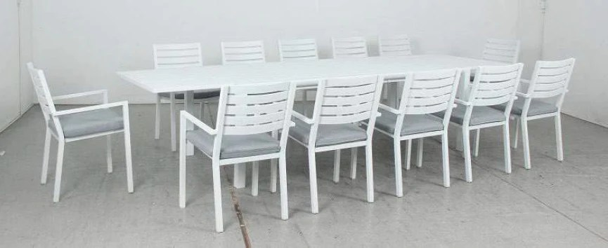 oslo 13pc extension aluminium outdoor dining set with como chairs white