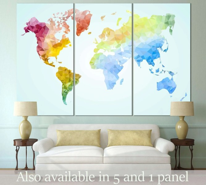 Low Poly World Map       110 Ready to Hang Canvas Print     Zellart