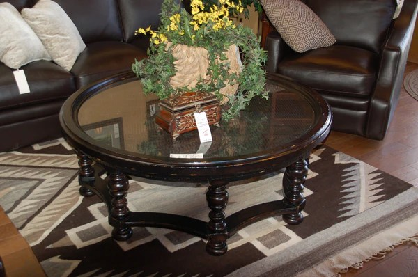 Coffee Table Large Round Black W Glass And Wicker