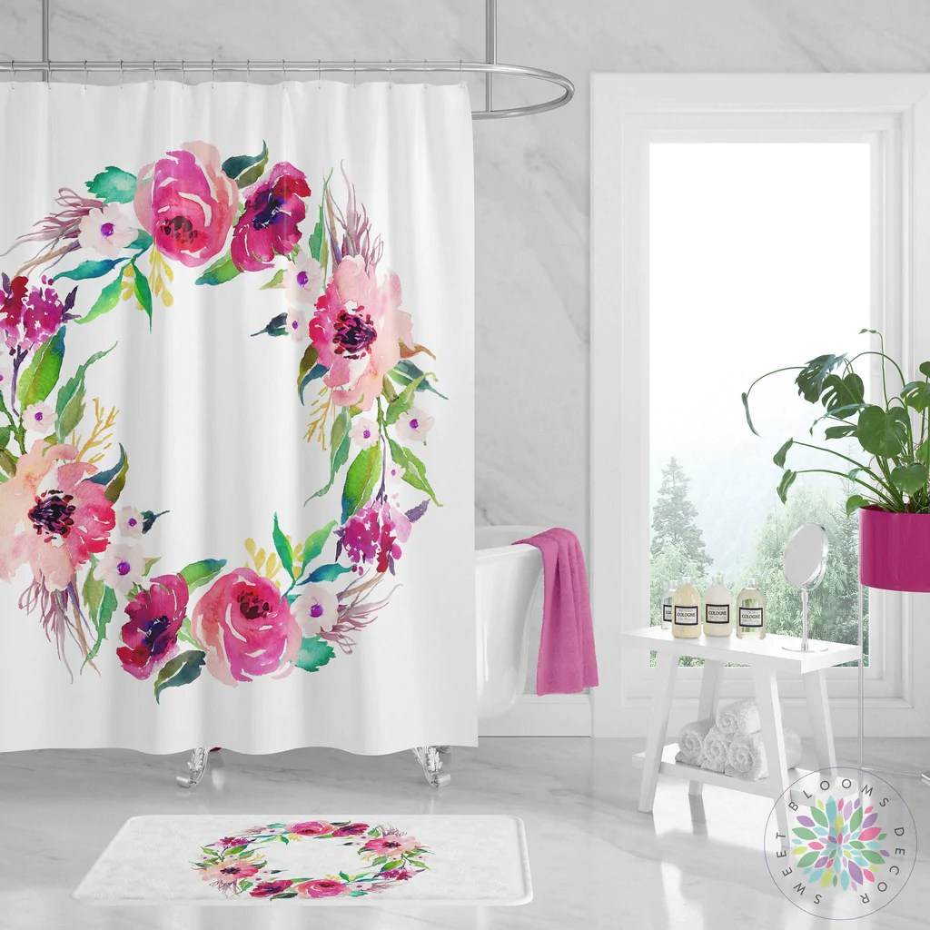 floral shower curtain blush pink magenta flowers wreath bathroom decor watercolor floral girl bathroom bathroom decor modern guest bath s122