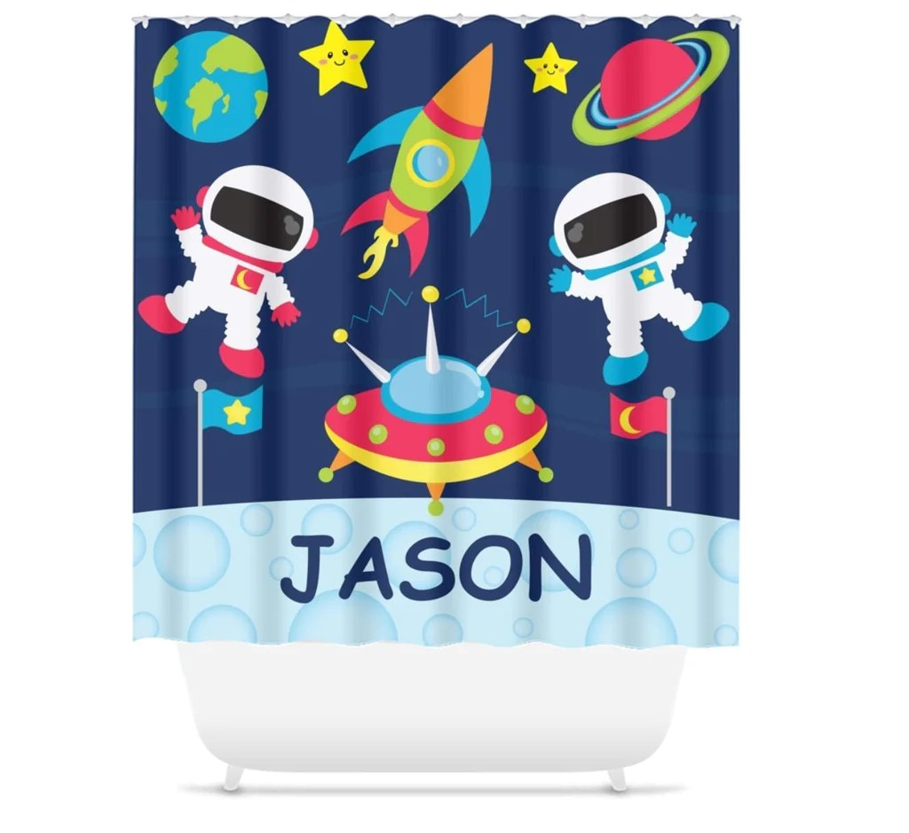 outer space shower curtain rockets planets solar system bat bathroom girl boy bathroom decor siblings brother sister s147