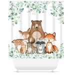 Ashsprt Woodland Nursery Shower Curtain Childish Seamless Woodland Pattern Kids Fabric Textile Fabric Bathroom Decoration Shower Curtain Polyester Waterproof Fabric With Hooks Bath Home