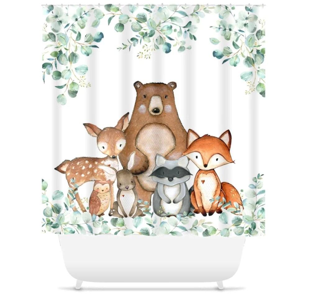 ashsprt woodland nursery shower curtain