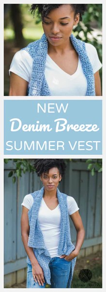 Denim Breeze Vest TL Yarn Crafts Crochet Pattern on Pinterest