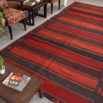 Faded Handmade Wool 6x12 Red And Black Cheap Area Rugs