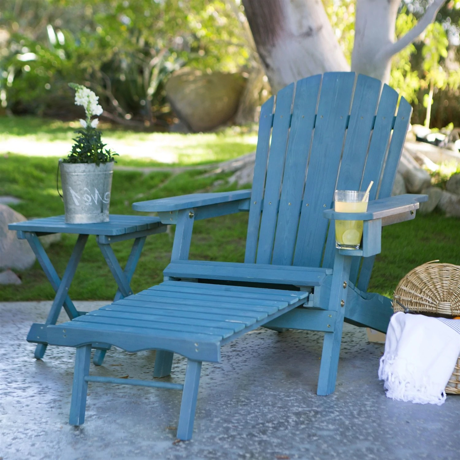 Blue Stain Wood Adirondack Chair With Pull Out Ottoman And Built In Cup Holder